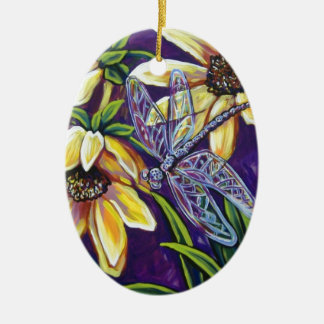 dragonfly and black eyed susans ceramic ornament