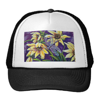 dragonfly and black eyed susans trucker hat