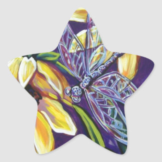 dragonfly and black eyed susans star sticker