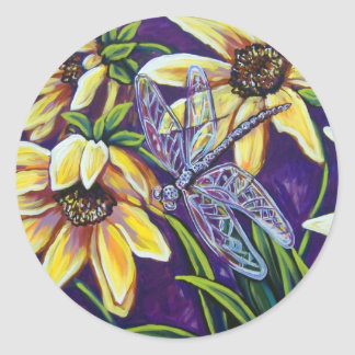 dragonfly and black eyed susans classic round sticker