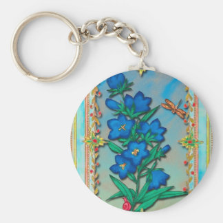 Dragonfly and Blue Flowers Key Chain