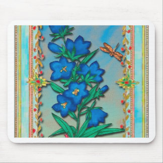 Dragonfly and Blue Flowers Mouse Pad