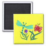Dragonfly and Butterfly Fridge Magnet
