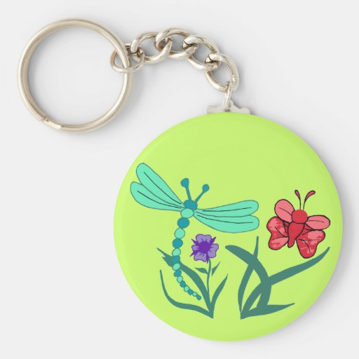 Dragonfly and Butterfly Keychain