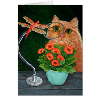 Dragonfly and Cat Card