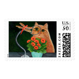 Dragonfly and Cat Postage