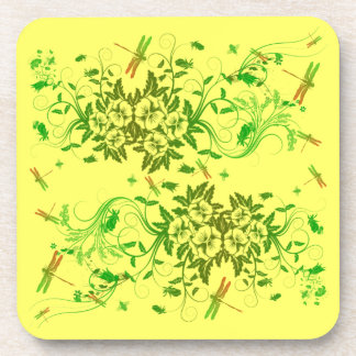 Dragonfly and Floral Cork Coaster