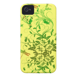 Dragonfly and Floral iPhone Barely There Case iPhone 4 Cases