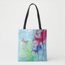 Dragonfly And Floral Watercolor Wash Tote Bag