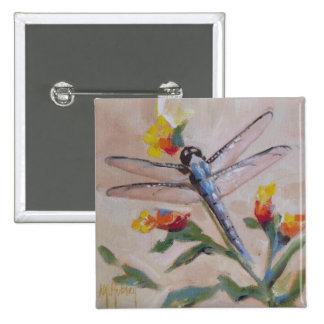 Dragonfly and flower pinback button