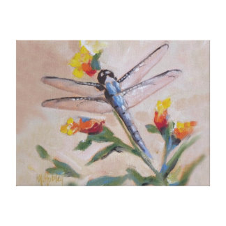 Dragonfly and flower canvas print
