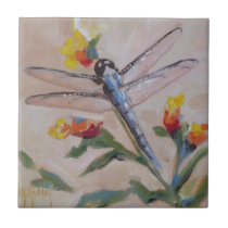 Dragonfly and flower ceramic tile