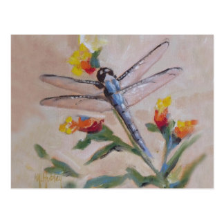 Dragonfly and flower postcard