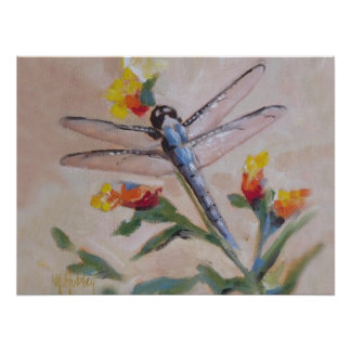 Dragonfly and flower poster