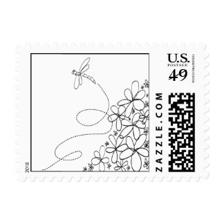 Dragonfly and Flowers Doodle Postage