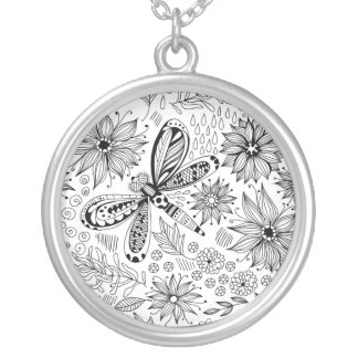 Dragonfly and flowers doodle silver plated necklace