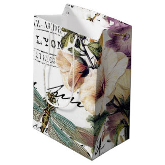 Dragonfly and flowers medium gift bag