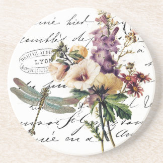Dragonfly and flowers sandstone coaster