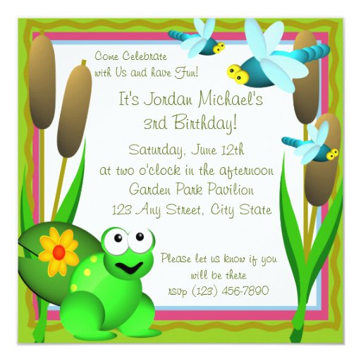 Dragonfly and Frog/ Birthday Invitation