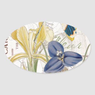 Dragonfly and Iris Oval Sticker