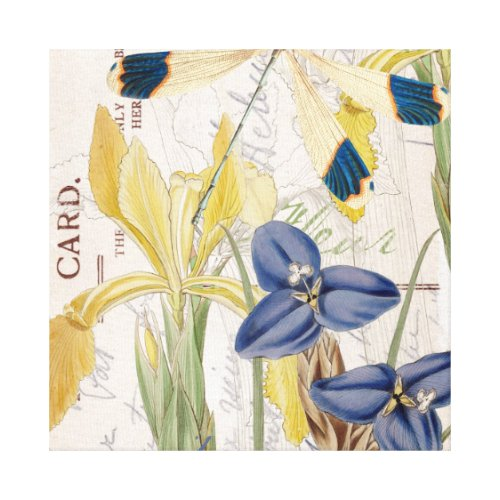 Dragonfly and Irises Canvas Print - floral dragonfly wall art