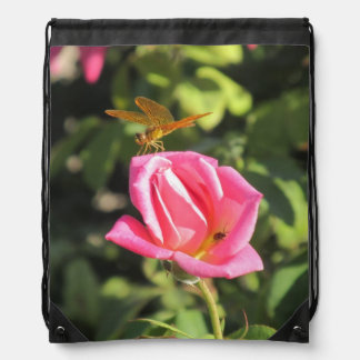 Dragonfly and Ladybug on Pink Rose Backpacks