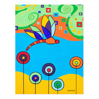 Dragonfly and Lollipop Flowers Postcard
