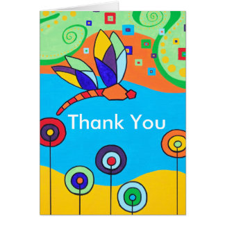 Dragonfly and Lollipop Flowers Thank You Card