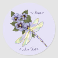 Dragonfly and Pansies Classic Round Sticker