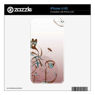 Dragonfly and Plants Decal For iPhone 4