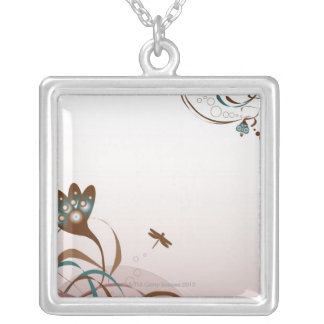 Dragonfly and Plants Silver Plated Necklace