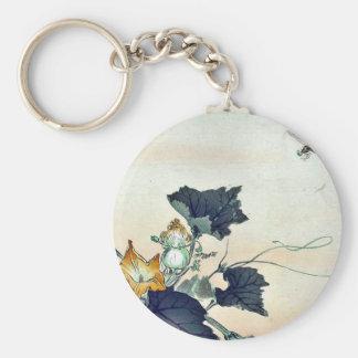 Dragonfly and pumpkin by Ogata, Gekko Ukiyoe Basic Round Button Keychain