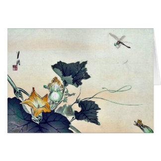 Dragonfly and pumpkin by Ogata, Gekko Ukiyoe Greeting Card