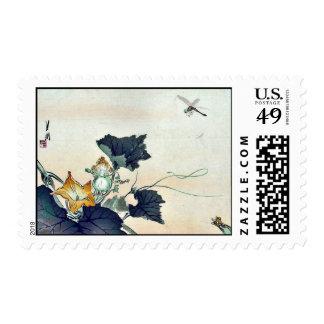 Dragonfly and pumpkin by Ogata, Gekko Ukiyoe Stamp