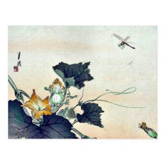 Dragonfly and pumpkin by Ogata, Gekko Ukiyoe Postcard