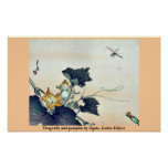 Dragonfly and pumpkin by Ogata, Gekko Ukiyoe Posters