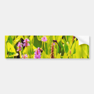 Dragonfly and Purple flowers Bumper Sticker