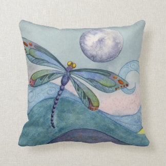 Dragonfly and the Full Moon Pillow