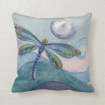 Dragonfly and the Full Moon Throw Pillows