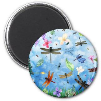 dragonfly art nola kelsey 2 inch round magnet
