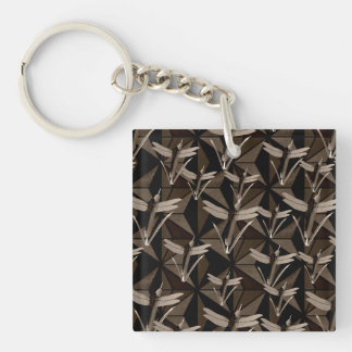 Dragonfly Art Single-Sided Square Acrylic Keychain
