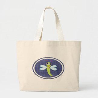 Dragonfly Beach Bag with Denim Background