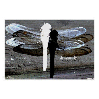 Dragonfly (black and white seperation) poster