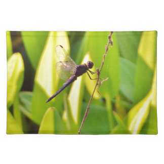 Dragonfly Blue and black on grass Place Mat