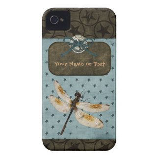 Dragonfly Blue Brown Stars Grunge Personalize iPhone 4 Cover