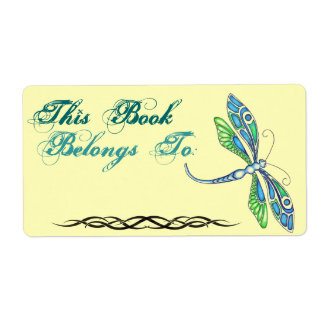Dragonfly Book Plate Ownership Label