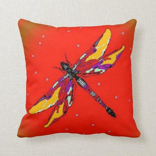 dragonfly burnt orange pillow by sharles zazzle. Black Bedroom Furniture Sets. Home Design Ideas