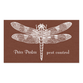 Dragonfly Business Card | rust faux flannel