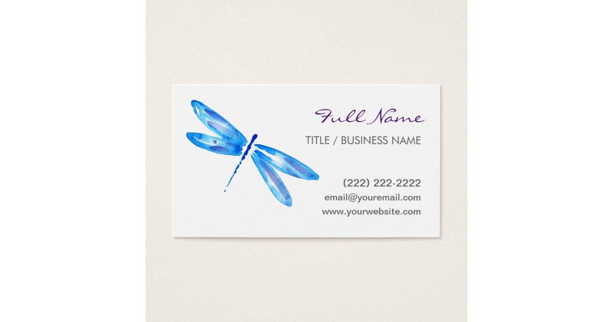 Dragonfly Business Cards | Blue Purple Watercolor | Zazzle.com