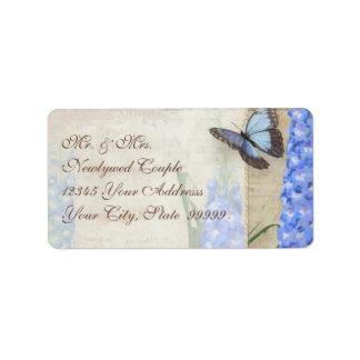 Dragonfly Butterfly Delphinium n Poppy Floral Art Label